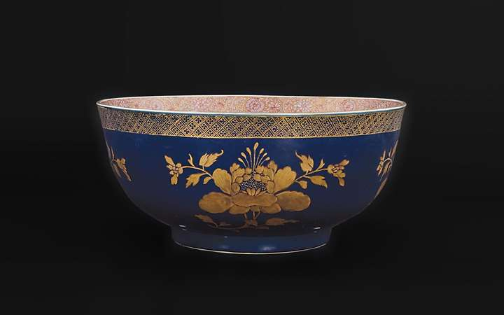 Chinese porcelain powder blue and gilt punchbowl